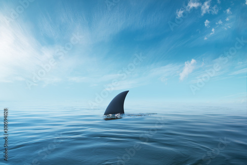 fototapeta na ścianę shark fin on surface of ocean agains blue cloudy sky