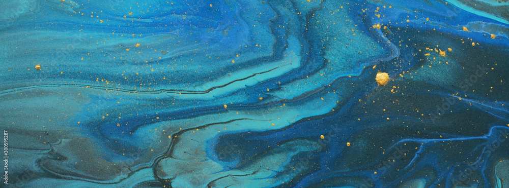 Fototapety, obrazy: art photography of abstract marbleized effect background. blue, turquoise, gold and black creative colors. Beautiful paint