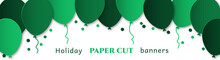 Horizontal Banner For Congratulations. Green Flying Balls On A White Background. Design In The Style Of Paper Cut, Art For Birthday, Wedding.