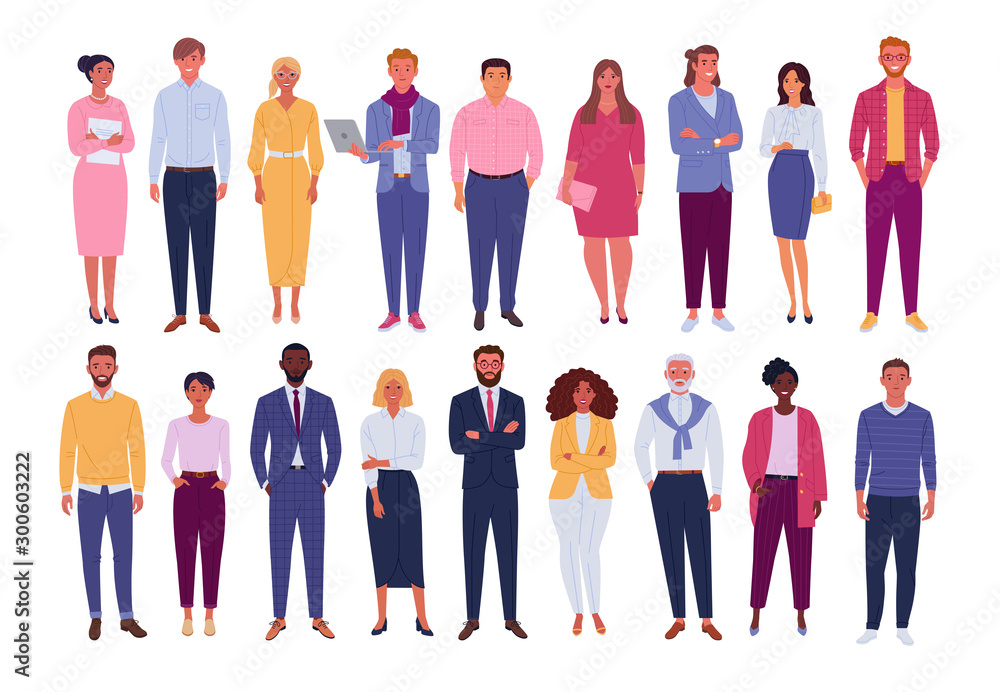 Fototapeta Office people collection. Vector illustration of diverse cartoon standing men and women of various races, ages and body type. Isolated on white.
