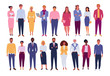 Office people collection. Vector illustration of diverse cartoon standing men and women of various races, ages and body type. Isolated on white.