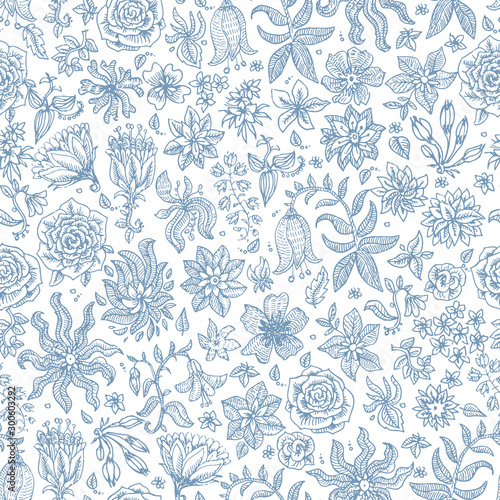 Vector seamless floral pattern from hand drawn small dark blue flowers and he...