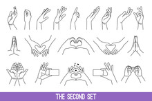 Linear Women Hands Gestures Graphics. Lines Art Hand Gesture Drawings, Ladys Or Female Outline Contour Arms, Showing Heart And Volunteer, Making Pray And Touch People Stroke Symbols