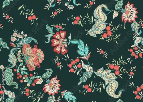 Fotografie, Tablou  Fantasy floral seamless pattern in jacobean embroidery imitation, vintage, old, retro style