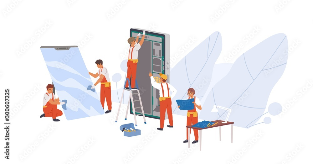 Fototapeta Smartphone repair flat vector illustration. Repairman service workers, appliance repairers cartoon characters. Electronic device reconditioning. Mobile phone parts replacement concept.