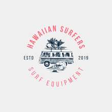 Hand Drawn Emblem With Retro Bus, Palms And Sea Waves