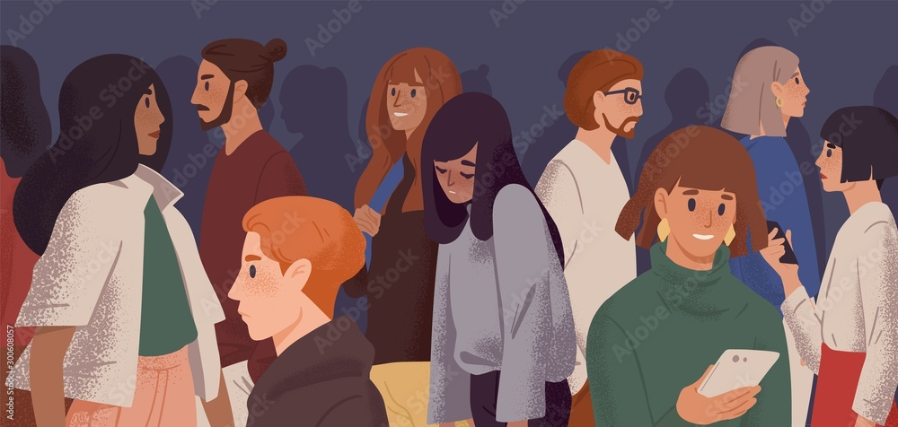Fototapety, obrazy: Sad girl in crowd flat vector illustration. Emotional burnout, depression and fatigue concept. Young overworked woman feeling exhausted cartoon character. Psychological disorder, apathy idea.