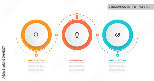 Fotomural  Business info graphic concept with marketing icons and 3 options, steps or process