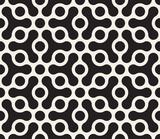 Wektorowy bezszwowy geometryczny wzór. Kontrast streszczenie tło. Wieloboczne siatki z zaokrąglonymi kształtami i okręgami. - 300610273