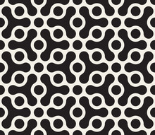 Vector Seamless Geometric Pattern. Contrast Abstract Background. Polygonal Grid With Rounded Shapes And Circles.