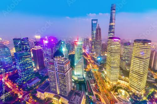 Foto auf Gartenposter Shanghai Shanghai skyline cityscape, modern building of the lujiazui financial centre in shanghai china.