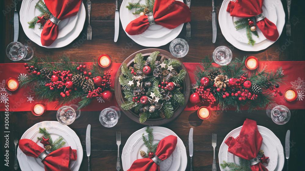 Fototapety, obrazy: Christmas holidays table setting concept