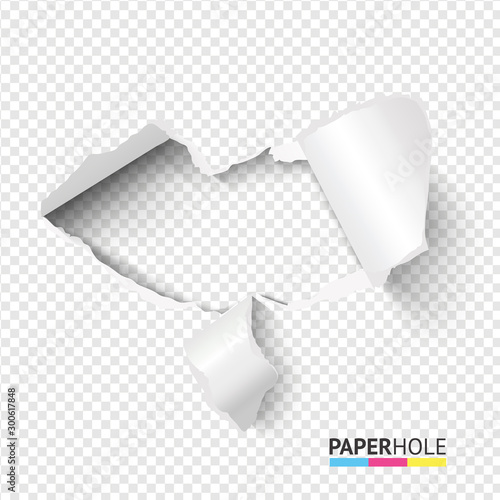 Fotografía  Empty tear cardboard heart shape hole with bent pieces on transparent background for valentines day poster