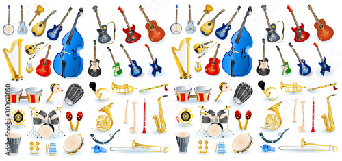 Fotomural  A variety of musical instruments vector