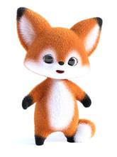 3D Rendering Of A Kawaii Cartoon Fox.