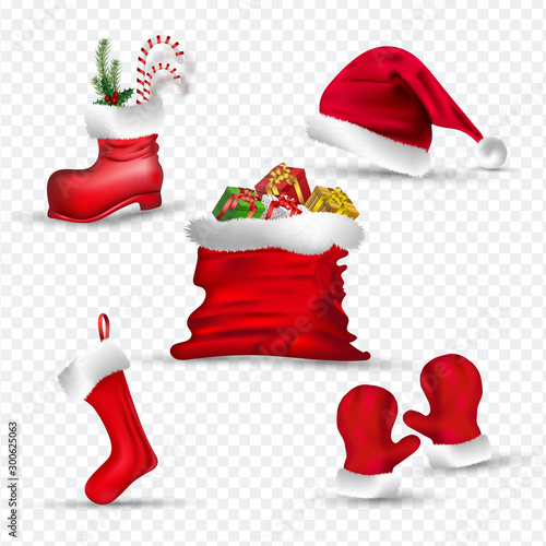 Cuadros en Lienzo  Santa clothes like as gloves, sock, hat, boot and gift sack on png background