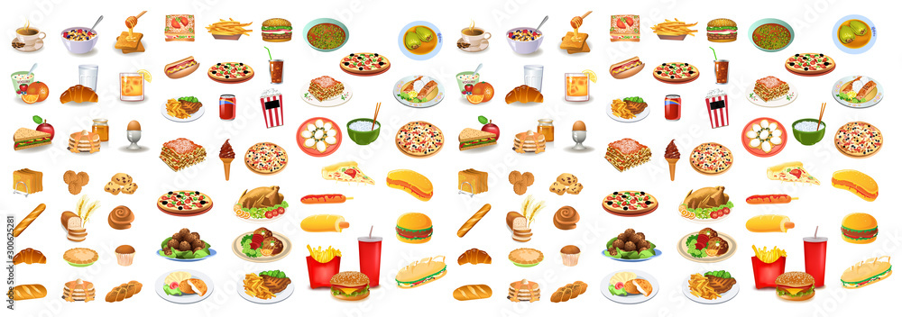Fototapety, obrazy: Different types of foods vector set