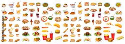 Different types of foods vector set Fotobehang
