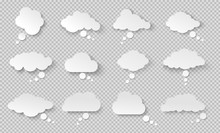 Thought Bubble. Think Cloud With Shadow. White Vector Speech Bubbles. Comic Discussion Speak Balloon Set. Cartoon Think Box. On Transparent Background