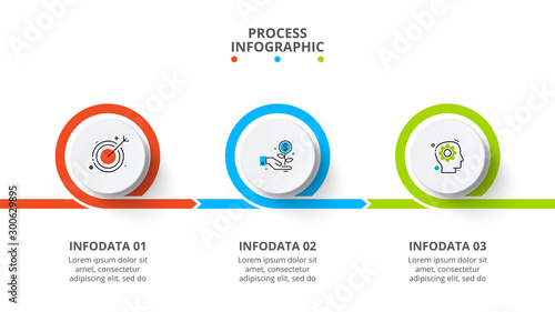 Obraz Business data visualization. Process chart. Abstract elements of graph, diagram with 3 steps, options, parts or processes. Vector business template for presentation. Creative concept for infographic. - fototapety do salonu