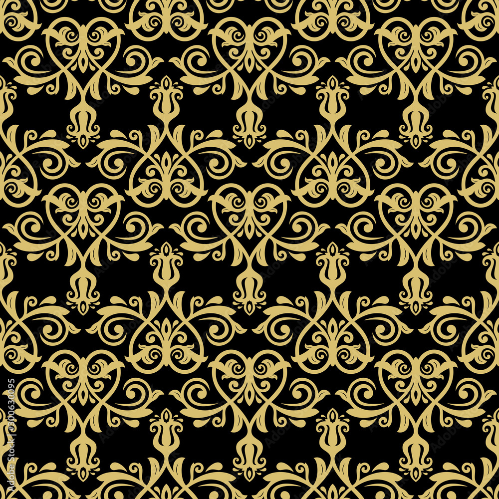 Orient classic black and golden pattern. Seamless abstract background with vintage elements. Orient background. Ornament for wallpaper and packaging