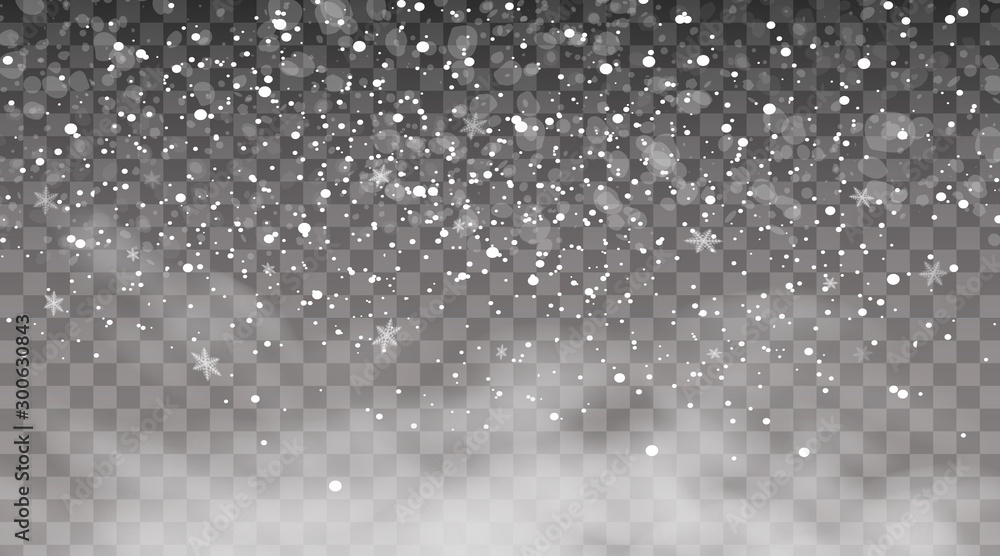 Fototapety, obrazy: Falling snow on a transparent background. Snow clouds or shrouds. Fog, snowfall. Abstract snowflake background. Fall of snow. Vector illustrator 10 EPS.