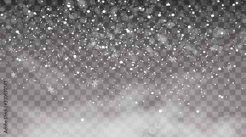 Photo Falling snow on a transparent background