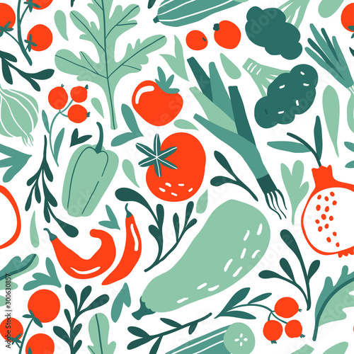 Seamless pattern with hand drawn red and green fruits, berries, vegetables Wallpaper Mural