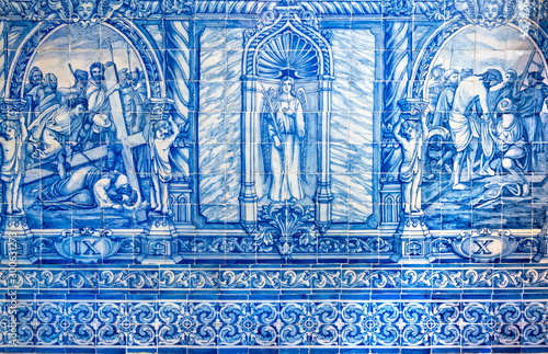 Evora, Portugal - October 17, 2019: Typical Portuguese azulejo tilework in St Francisco church Canvas Print