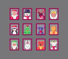 Pixel Art Animals Avatars On Christmas.