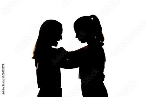 Vászonkép Dos chicas muy guapas abrazadas; amor fraternal, amigas cariñosas guapas y sonrientes