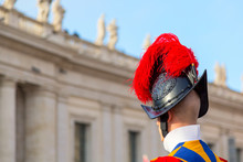 Swiss Guard Protecting The Vatican Near St. Peters Basilica, Vatican, Rome.
