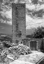 Old Stone Tower House In Black And White. Mani, Peloponnese, Greece.