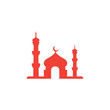 Mosque Red Icon On White Background. Red Flat Style Vector Illustration