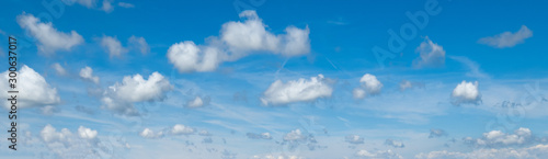 Blue sky with clouds (wide background panorama). Fototapet