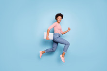 Full Length Body Size Profile Side Photo Of Excited Crazy Cheerful Positive Nice Pretty Sweet Youngster Wearing Jeans Denim Striped Shirt Footwear Isolated Blue Pastel Color Background