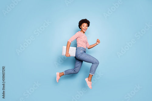 Carta da parati Full length body size profile side photo of excited crazy cheerful positive nice