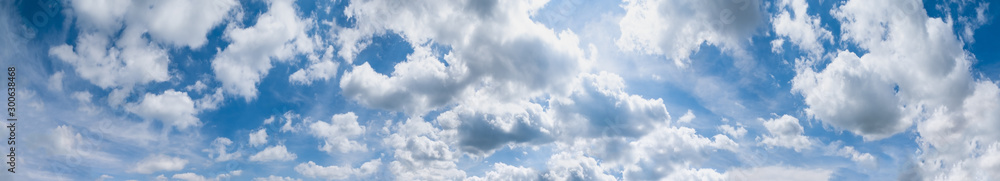 Fototapeta Blue sky with clouds (wide background panorama).