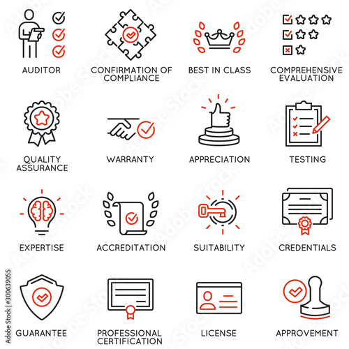 Vector set of linear icons related to approvement, accreditation, quality check and affirmation Canvas Print