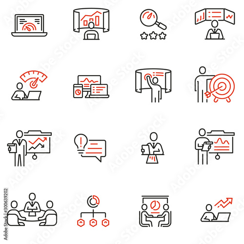 Photo Vector Set of Linear Icons Related to Strategy Management System and Balanced Scorecard