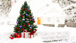 3d rendering Christmas tree in house a winter 2020 HAPPY NEW YEAR - Illustration