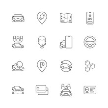 Car Share Icon. Rental City Automobile Urban Transport Mobility Smart Sharing Vector Linear Symbols Collection. Car Auto Service, Transportation Rental Illustration