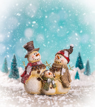 Christmas Scene With Snowman F...