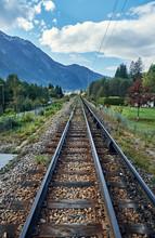 Railway In The Chamonix Valley. Alps, France.