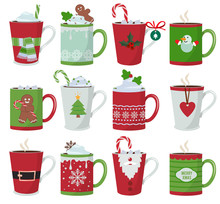 Christmas Mug. Holiday Decoration At Vessel For Hot Drinks Coffee Latte Or Tea Cup Vector Cartoon Illustrations. Cup Coffee And Mug With Hot Chocolate