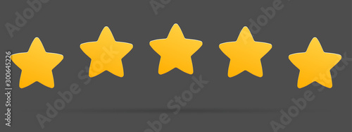 Fotografía  Stars rating isolated on white background. Five stars rating.