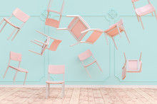 3D Rendering Of Chairs Flying ...