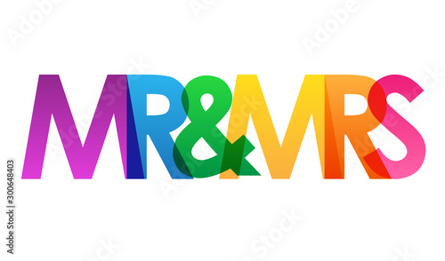 MR & MRS rainbow vector typography banner