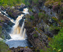 Rogie Falls, A Series Of Waterfalls On The Black Water, River In Ross-shire In The Highlands Of Scotland.