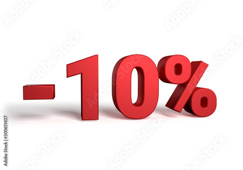 Fotomural  10% discount sale promotion off 3d rendered isolated on white background